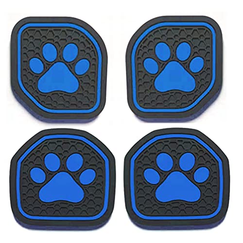 US-LXC Auto Cup Holder Coaster Insert: an Interior Accessory Fit for Sport & Rubicon of (Jeep Wrangler JL JLU & Gladiator JT) of 2018 2019 2020 2021,or A Car Liner Mat Pad, 4pcs -Blue (Pawprint)
