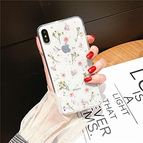 Funda Transparente para teléfono con Brillo de Flores secas en Caliente para Apple iPhone 6 7 8 Plus X XS XR MAX 11 Pro 12 Mini Funda Transparente con Estrella epoxi-para_iPhone_XS_Pink
