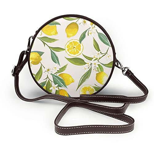 fepeng Pequeño bolso de hombro en forma redonda Limón Circular Crossbody Bag Bolsas de hombro de cuero de microfibra, café, Talla única