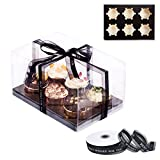 ❤【GET MORE VALUE】-You will receive 12 pack Clear Cupcake Boxes at a super competitive price lower than others, The cake boxes measures 10*7*5.5 in, Each large capacity bakery boxes fits 6 cakes or muffins.Comes with a roll of 46m black lace blessing ...