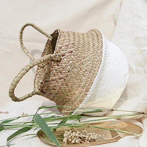Handmade Woven Hanging Basket - Diadia Seagrass Wicker Basket Wicker Basket Flower Pot Folding Basket Dirty Basket Storage for Home Garden Wedding Wall Decoration Bathrooms & Bedrooms (White)