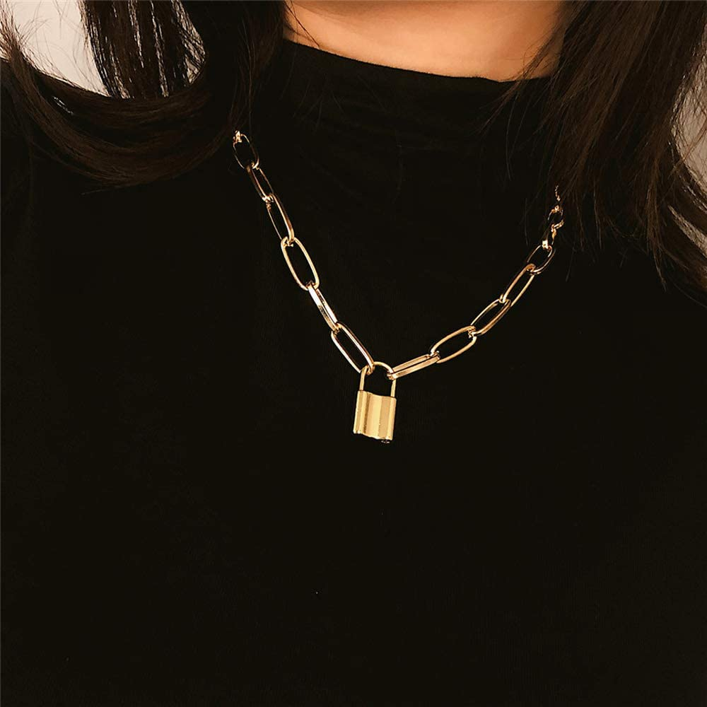 Lock Necklace Padlock Chain Stainless Steel Punk Choker Necklace for Men Women