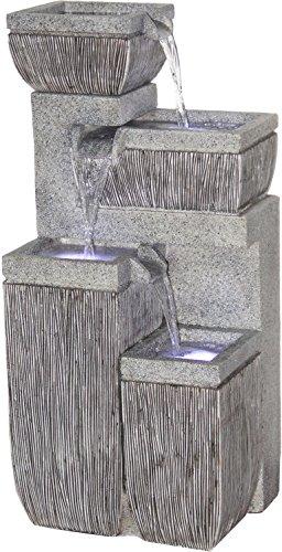 dobar Großer Design Garten-Brunnen mit Pumpe und LED´s, Polyresin, grau (steingrau), 38.7 x 32.3 x 80.3 cm, 96130e
