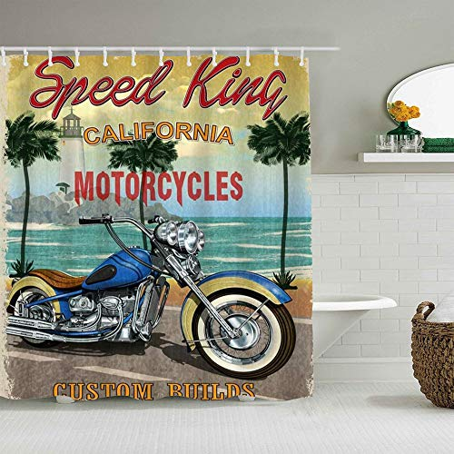 MEJX Duschvorhang,Reisen Vintage Ocean California Motorrad Club Auto Benzin Altes Rennen Schnelle Moto Retro Gefährliche Route,personalisierte Deko Badezimmer Vorhang,mit Haken,180 * 180