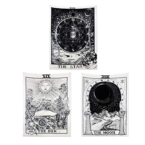 Alumuk Tarot Tapisserie Wandbehang Wandteppich, Mandala Tuch Wandtuch Mittelalterliche Europa Divination Tapestry The Moon The Star The Sun als Dekotuch/Tagesdecke (130 x 150cm, Sun & Moon & Star)