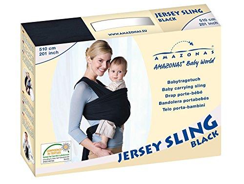 AMAZONAS Baby Tragetuch Jersey Sling black 0-9 Monate bis 9 Kg - 5