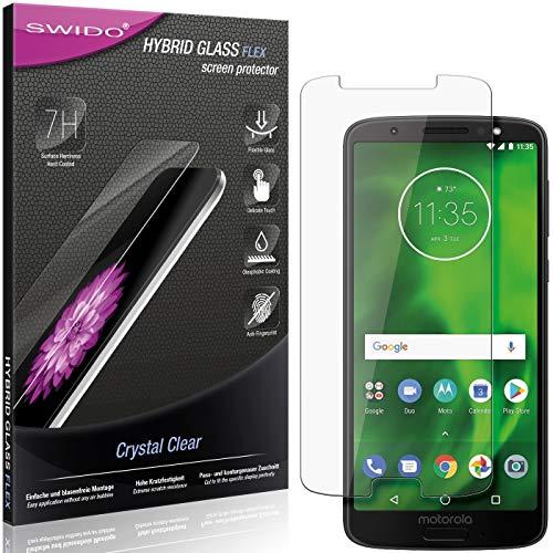 SWIDO Panzerglas Schutzfolie kompatibel mit Motorola Moto G6 Displayschutz-Folie und Glas = biegsames HYBRIDGLAS, splitterfrei, Anti-Fingerprint KLAR - HD-Clear