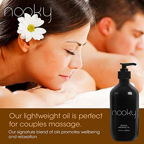 Nooky Massage Oil with 100% Premium Natural Ingredients. Relaxing Essential and Sweet Almond Oils for Massaging 16 Ounces