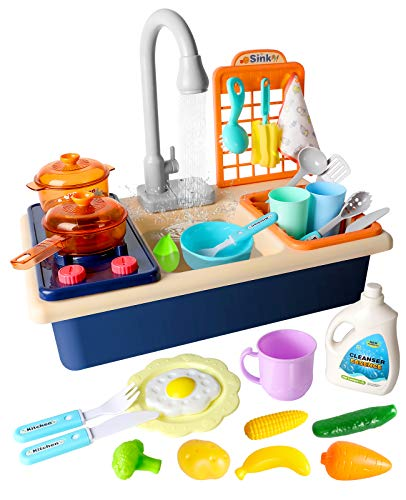 POPUTOY Play Sink Toys, Electric Dishwasher Playing Toy with Running Water, Pretend Play Kitchen Toys Set with Stove, Utensils, Playfood and Working Faucet, Pretend Role Play Toys for Boys Girls