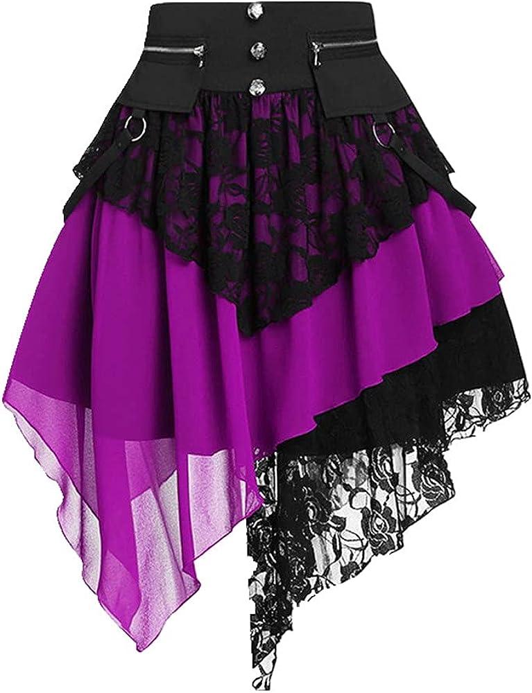Summer Women's lace Stitching Button Casual Women's Skirt