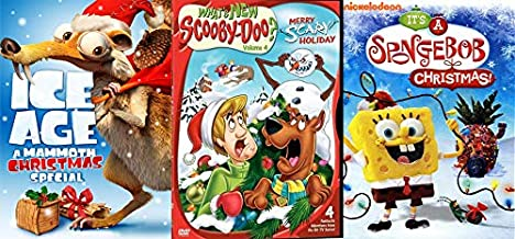 Jenkies Bikini Bottom/ Classics Taking On Christmas 3 DVD Bundle: It's A Spongebob Christmas! + Ice Age A Mammoth Christmas Special + What's New Scooby Doo Vol 4 Merry Scary Holiday