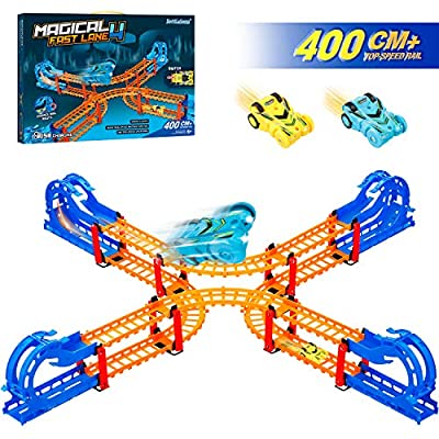 360 Degree Overturn Cross Crash Track Set - Top Speed Double X-shape Loop Tracks - 2 Rechargeable Slot Rail Car with Headlights Racing Track Toy for Kids Gift 3 4 5 6 7 8 Year Old