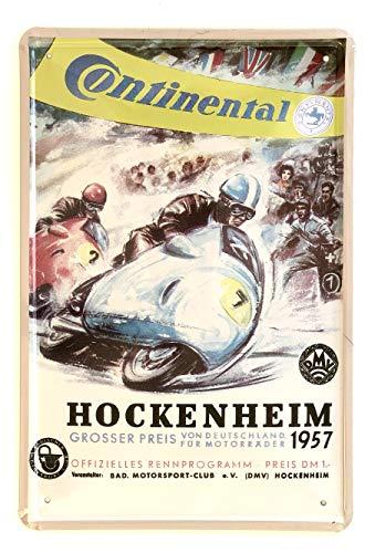 DiiliHiiri Cartel de Chapa Vintage Decoración, Letrero A4 Estilo Antiguo de metálico Retro - Continental Hockenheim