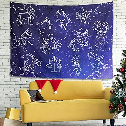 OwlOwlfan Star Constellation Tapersty - Manta de pared ligera para decoración del hogar, cortina de puerta de tela decorativa para dormitorio, sala de estar, dormitorio, color blanco 79 x 59 pulgadas