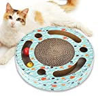 Mora Pets Cat Toys Interactive Scratching Board Cat Kitten Toys - Cat Scratcher Cardboard Scratching Pad, Activity Kitten Toys for Indoor Cats with Catnip and Balls