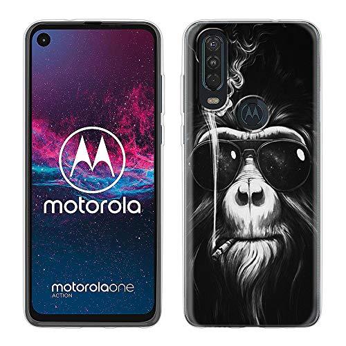 Yoedge Coque Motorola One Action, Etui en Silicone TPU Transparente 3D Coque avec Motif Design Antichoc Housse de Protection Cover Soft Case pour Téléphone Motorola One Action 6,3', Orang-Outan