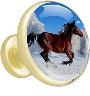 Running Horse en campo de nieve El armario maneja las perillas de los gabinetes de metal dorado con cristal para la puerta...