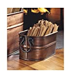 Plow & Hearth Copper-Finished Steel Oval Tub with 5 Lbs. of Fatwood