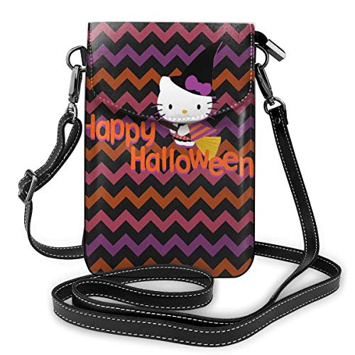 Lsjuee Womens Crossbody Bags Happy Halloween Kitty Witch Small Cell Phone Purse Wallet with Credit Card Slots