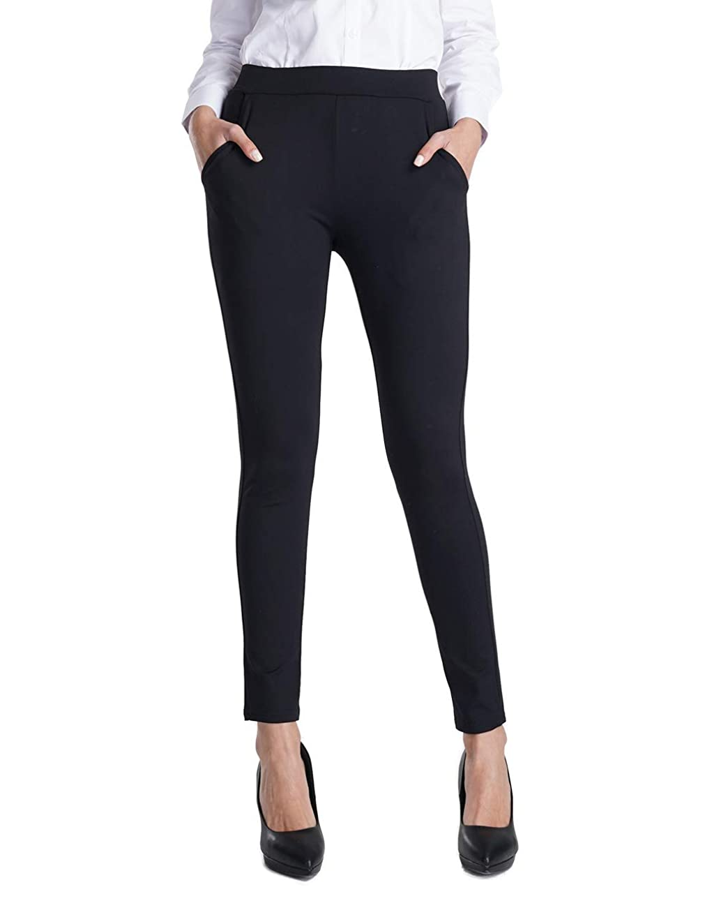 Balleay Art Women's Stretch Slim Ankle Fit Comfort Office Yoga Dress Pants w/Out Pocket & Tummy Control