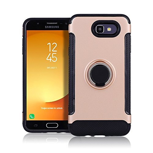 Galaxy J7 Prime 2017 Case, Galaxy J7 V Case Slim Drop Protection Cover, Ring Grip Holder Stand, Ready for Magnetic Car Air Vent Mount For Samsung Galaxy J7 V, J7 Perx, J7 Sky Pro, J7 2017 (Rose Gold)