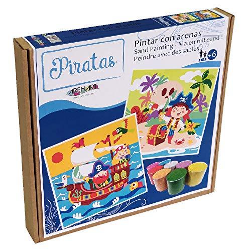 Arenart | Pack 2 Dibujos Piratas 30x30cm | para Pintar con Arenas de Colores | Manualidades para Niños | Dibujo Infantil | +6 años