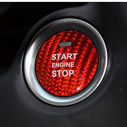 M.JVisun Kohlefaser EIN Knopf Start Taste Deckel Trimmen für Mazda, Zündung Schalter Aufkleber für Mazda 3 Axela Mazda 6 Atenza CX-3 CX-4 CX-5 CX-8 MX-5 - Rot