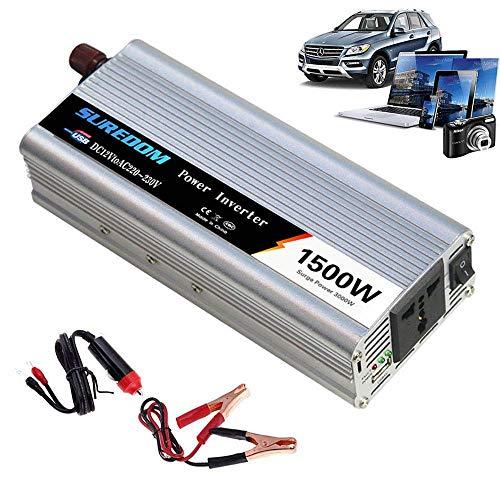 YVX Inversor de 1500 W, CC a CA 12 V 24 V a 110 V 220 V 240 V, 3000 W de Potencia máxima, con Puertos de Carga USB y Toma de Corriente, convertidor de Voltaje sinusoidal Modificado para vehículo