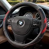 Red Steering Wheel Cover, Seniny Breathable Odorless Leather Steering Wheel Cover 14 1/2 inch to 15 inch Universal, Heat Resistant Anti-Slip Steering Wheel Accessories Suitable for Most Models of Car