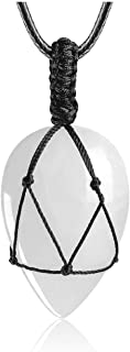 JOVIVI Teardrop Healing Crystal Necklace Natural Amethyst Tiger Eye Gemstone Heart Chakra Pendant Quartz Jewelry Adjustabl...