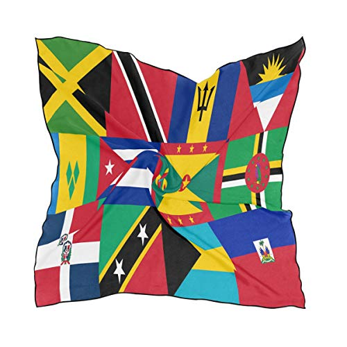Men Women Caribbean And West Indies National Flag Satin Square Scarf Novelty Neck Head Scarf Hair Band Wrap Bandana 23.6 x 23.6 inches