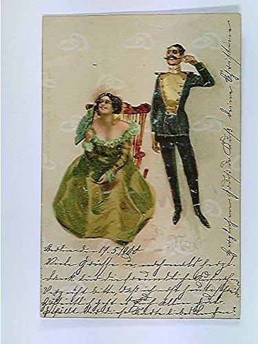 AK Ja oder Nein!, fliegende Eheringe, Päärchen, Hochzeitskarte?, gelaufen 1900