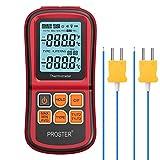 Proster -200~1372˚C Termometro Digitale a Doppio Canale con Due Termocoppie di Tipo K LCD Retroilluminato Rilevamento Differenza Temperatura Batterie Incluse per Termocoppia K/J/T/E/R/S/N