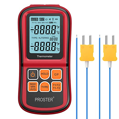 Proster Termómetro Digital de Doble Canal con Dos termómetros de Temperatura Tipo K con retroiluminación LCD para termopar K/J/T/E/R/S/N