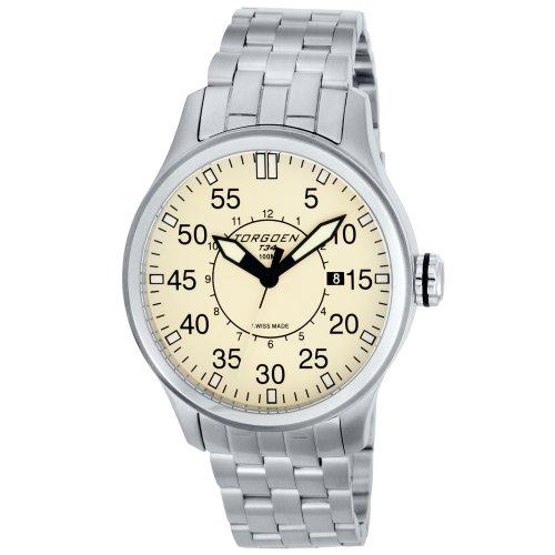 TORGOEN Swiss Herren-Armbanduhr Analog Quarz Edelstahl T34203