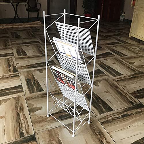 Étagère à livres Chunlan Bibliothèque autoportante en métal à 3 Couches, Porte-revues Suspendus latéralement 3 Couleurs 35 × 23 × 100 cm (Couleur : Blanc)