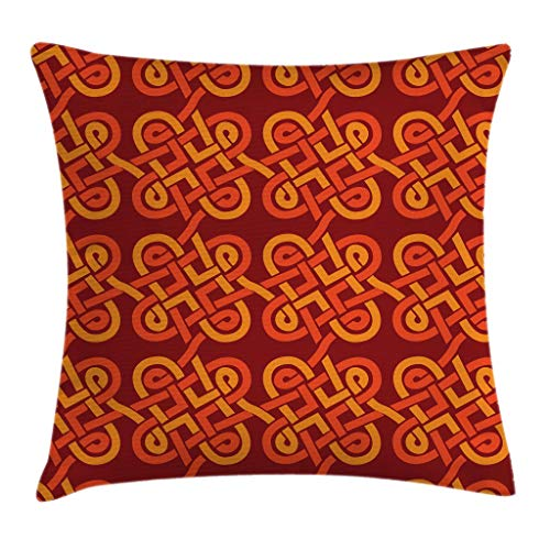 Ambesonne Celtic Throw Pillow Cushion Cover, Multicolored Interlaced Vintage Celtic Conjoined Knot Forms European Graphic Design, Decorative Square Accent Pillow Case, 16' X 16', Red Orange