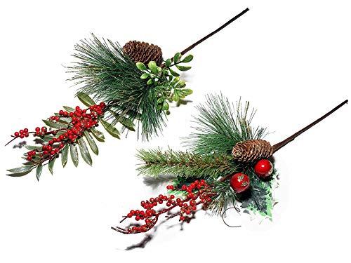 Weihnachtszweig 2er Set Adventszweig mit Zapfen und rote Beeren 30 cm lang Dekozweig für Weihnachten Weihnachtsstrauß
