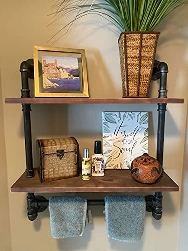 """Ucared Vintage Industrial Pipe Bathroom Shelves Wall Mounted, 2-Tier 24"""" Rustic Wall Shelf with Bath Towel Bars,Farmhouse Towel Rack,Metal & Wooden Floating Shelves,Over The Toilet Storage Shelf"""