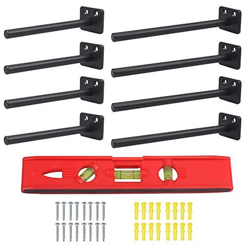 Regalträger, Tanice 8 Stück schwebende Regalhalterungen 15,2 cm 20,3 cm Blind-Regal unterstützt versteckte Halterungen für schwebende Holzregale mit Wasserwaage und Hardware