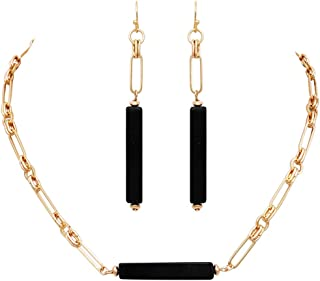 Rosemarie Collections Women's Stunning Black Natural Semi Precious Stone Bar Necklace Earring Set