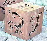 Maison en France Feuerkorb schwere Ausführung oder Gartendeko, Lichtsäule- von beiden Seiten nutzbar-mit Holz, Brenngel oder als Gartenleuchte- moderner- sehr Stabiler Metallwürfel, pro Stück
