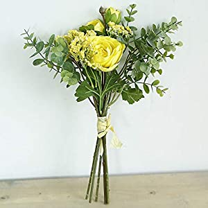 Artificial and Dried Flower Artificial Rose Gypsophila Flowers Bride Silk Bonquet Craft White Fake Flowers Table Decor Home Garden Wedding Decoration – ( Color: Yellow )