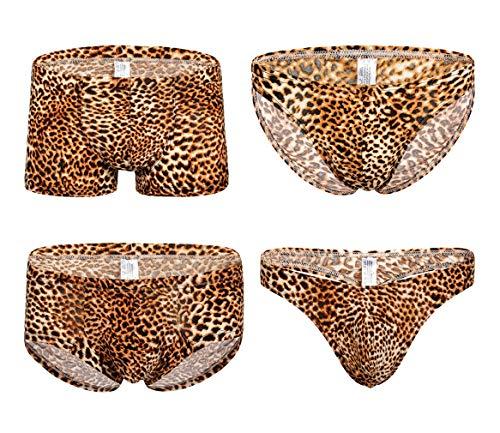 Leopard Boxershorts Unterwäsche für Herren Jugend 4 Packung Unterhose (4 Arten Stil),Yellow,XL