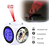 GIRLSIGHT Projection Alarm Clock Wake Up Bedroom with Data and Temperature Display Talking Function, LED Wall/Ceiling Projection,Customize The pattern-138.Echo's Nose