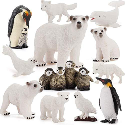 Juego de 12 figuras de animales polares realistas de plástico con forma de animales árticos que contiene oso polar Karibu para decoración de pasteles, Navidad, cumpleaños, juguetes para niños