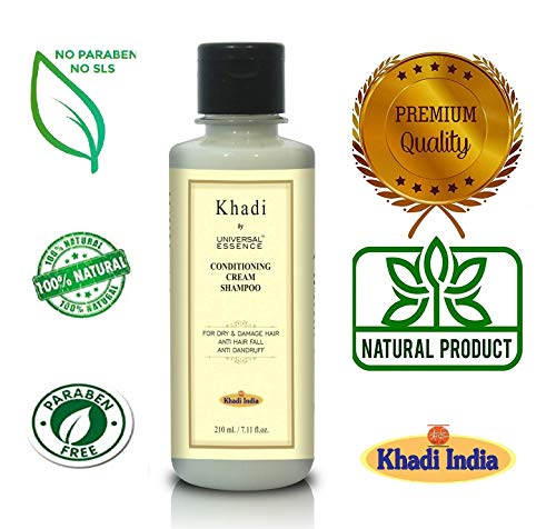 Khadi Mauri Herbal Conditioning Cream Shampoo - 210 ml - Dry & Damaged Hair Treatment - Enriched with Apricot Oil, Aloe Vera & Honey