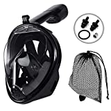 JRing Full Face Snorkel Mask, 180° Panoramic View Safe Breathing System Diving Mask