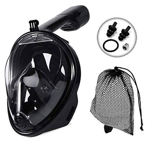 JRing - Máscara de esnórquel de visión panorámica de 180°, antifugas, máscara de esnórquel con Correas Ajustables para la Cabeza y Tubo de Buceo para Adultos y niños (Negro), Color Negro, tamaño L-XL