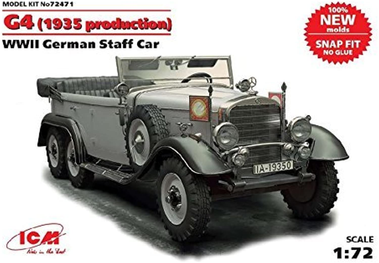 1935- G4 Production WWII German Staff Car Snap Fit by ICM